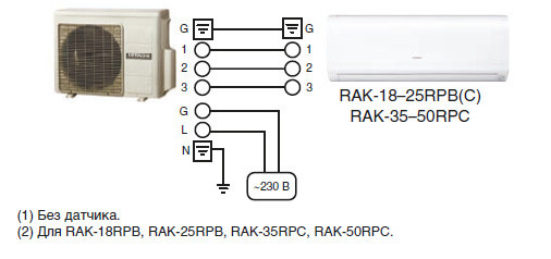 Схема подключения Hitachi RAK-25RPC/RAC-25WPC PERFORMANCE